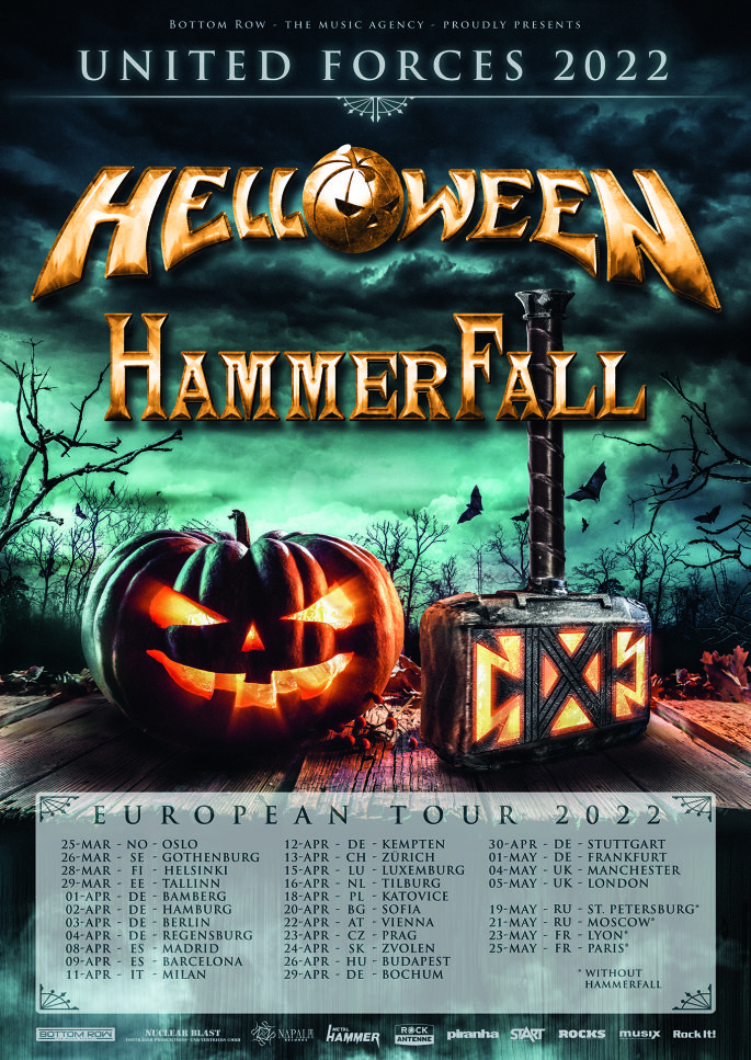 Ein Plakat für die gemeinsame Tour von Hammerfall und Helloween
