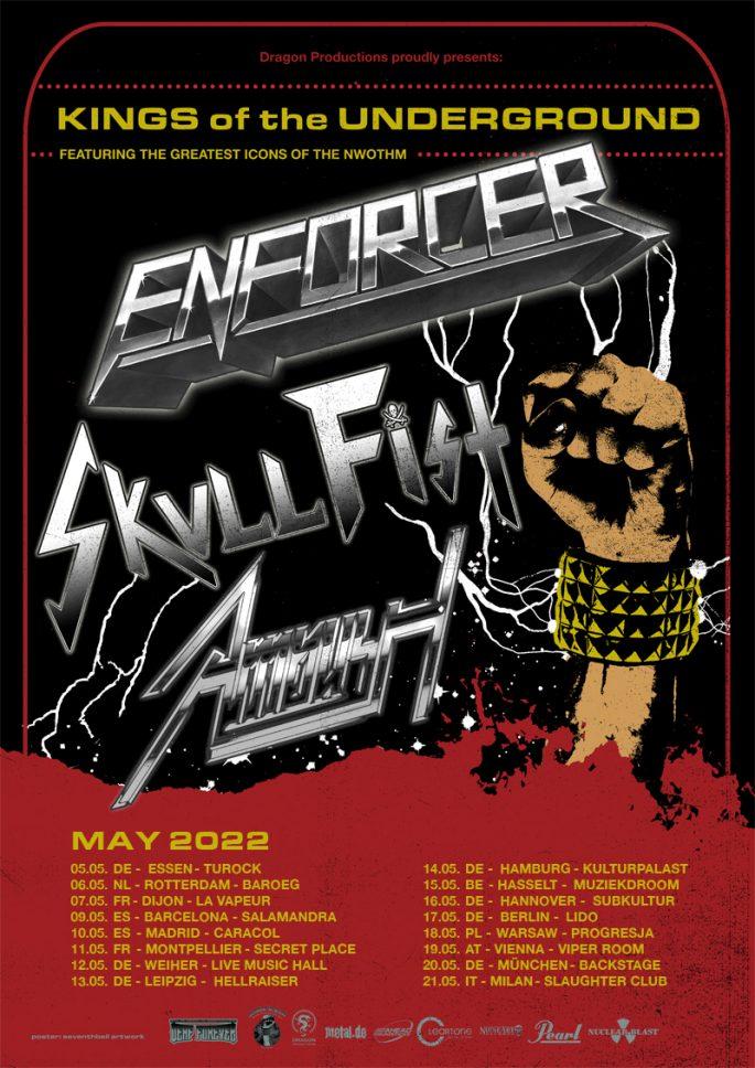 Ein Flyer für die Kings Of The Underground Tour 2022 von Enforcer