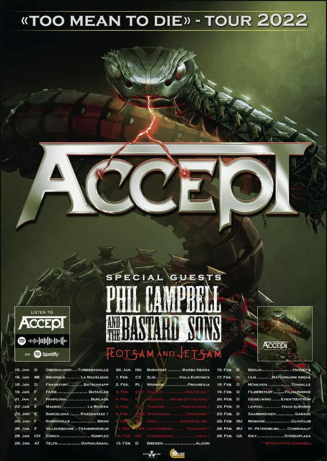 Accept Too Mean To Die Tour 2022