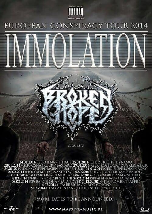 immolation tour flyer 2014